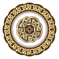 Decorative porcelain plate for table asset ornate  in traditional Celtic style