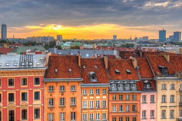 Architecture of the old town of Warsaw at sunset, Poland