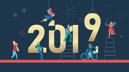 Happy New Year 2019 poster with people building figures. Fototapete