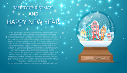Merry Christmas and Happy New Year background with snow globe.