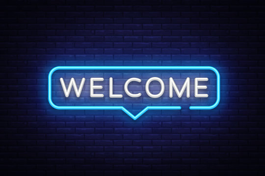 Welcome Neon Text Vector. Welcome neon sign, design template, modern trend design, night neon signboard, night bright advertising, light banner, light art. Vector illustration