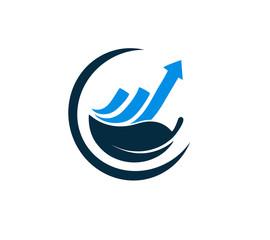 financial leaf logo vector