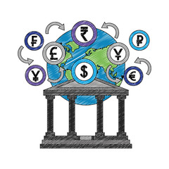 bank building with planet and coins