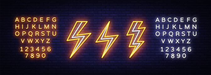 Lightning bolt set neon signs. Vector design template. High-voltage neon symbol, light banner design element colorful modern design trend, bright sign. Vector. Editing text neon sign Wall mural