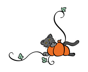 Black Cat Hiding behind a pumpkin - corner border