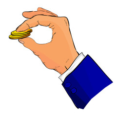 Hand Give or Holding blank golden coin
