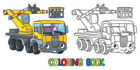 Funny telescopic boom lift car. Coloring book