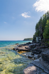 Bruce Peninsula shoreline at Cyprus Lake National Park Ontario on a sunny day