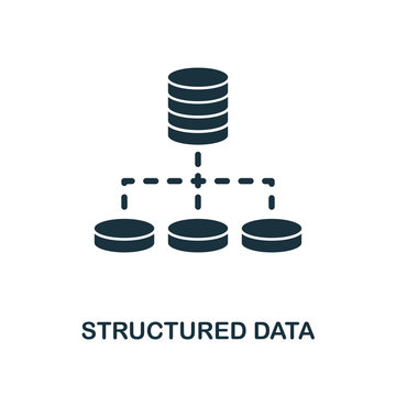Structured Data icon. Monochrome style design from big data icon collection. UI. Pixel perfect simple pictogram structured data icon. Web design, apps, software, print usage.