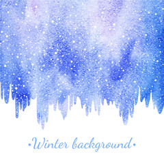 Winter watercolor border with falling snow splash texture. Icicles edge. Christmas, New Year hand drawn background, frame. Shades of blue and violet watercolour stains. Snowflakes are removable.
