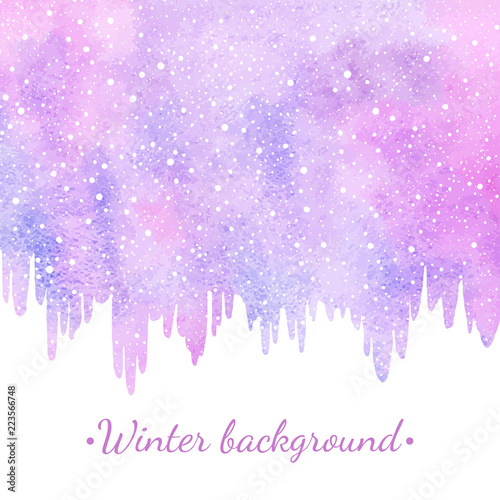 winter watercolor abstract border background with falling snow