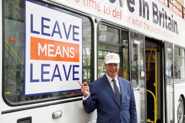 Nigel Farage poses for pictures as he launches Leave Means Leave's campaign against Britain's Prime Minister Theresa May's Chequers Brexit plan, in central London