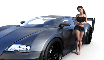 3d illustration of a beautiful brunette woman sanding next to a sports car.