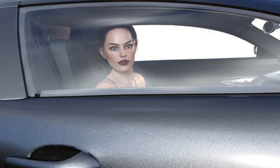 3d illustration of a beautiful brunette woman looking out of a window of a car.