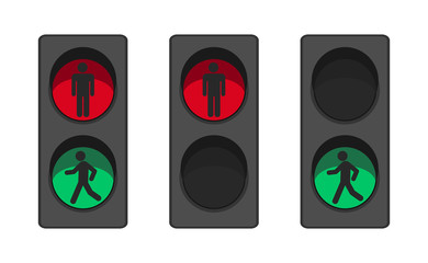 Pedestrian traffic light with human silhouette flat vector. Red and green stoplight