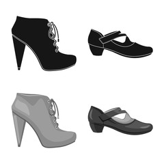 Vector illustration of footwear and woman logo. Collection of footwear and foot stock symbol for web.