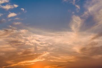 Beautiful sunset. Sunset over the city. Skyscrapers. Multicolored sky. Clouds.