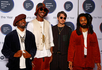 Musicians from Sons of Kemet, whose album 'Your Queen is a Reptile' has been nominated for the Mercury Prize 2018, pose for a photograph ahead of the ceremony at the Hammersmith Apollo in London