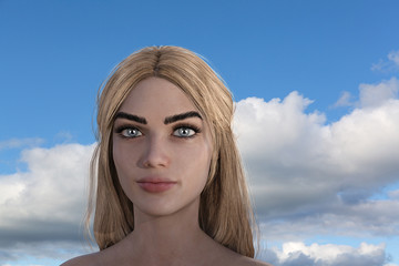 Illustration of a blonde woman with clouds and blue sky in the background.