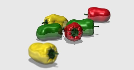 Bell peppers on white background