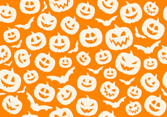 Halloween wallpaper with funny silhouettes of pumpkins. Vector.