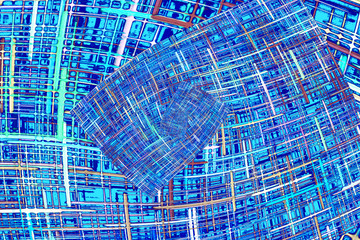 Abstract blue checkered fractals pattern. Comic background.