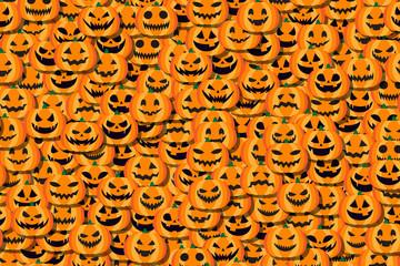 背景素材,ハロウィン,かぼちゃの飾り,ジャックオーランタン,お化け,モンスター,幽霊,多数の人の顔,