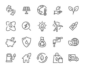 set of eco vector icons, such as energy, earth, environment, nature, water