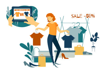 Sale, consumerism and people concept. Young woman is shoping. Online shopping with smartphone
