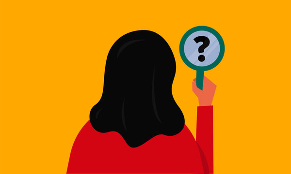 Vector illustration of a girl/woman staring at the question mark reflection in a mirror. Mirror shows doubt. Searching for Answers Concept