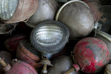 Old tractor headlights and lamps