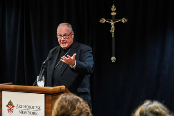 Cardinal Timothy Dolan, Archbishop of New York, speaks during a news conference in Manhattan