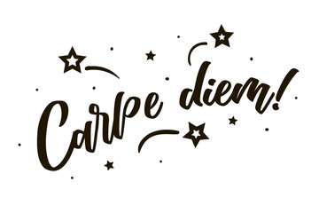 Carpe diem. Beautiful greeting card poster, calligraphy black text Word star fireworks. Hand drawn, design elements. Handwritten modern brush lettering on a white background isolated vector