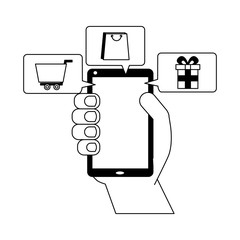 hand holds smartphone buy online ecommerce