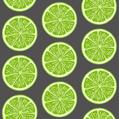 Round lime slices, seamless pattern. Tropical fruits. Vector background.