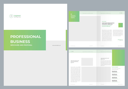 Business Brochure and Proposal Layout with editable Green Accents