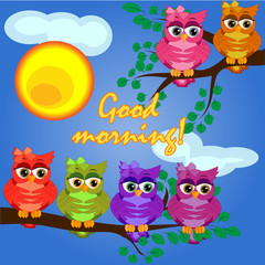 A owl on a tree branch in the morning, the sun shines and smiles. Inscription Good morning. Morning, breakfast