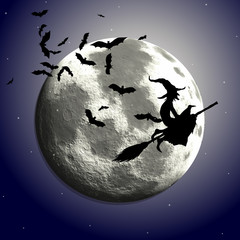 Halloween background with flying witch against a moonlit sky