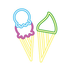 two neon delicious ice cream cone bright