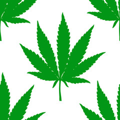 Hand drawn marijuana leaf seamless pattern