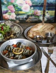 Dolma and Pkhali dishes at a restaurant serving Georgian vegan food, Tel Aviv, Israel.