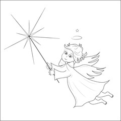 Flying cute angel with light of bethlehem. vector.