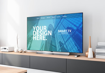 TV Set on Console Mockup
