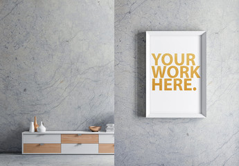 Vertical Poster on Wall Mockup