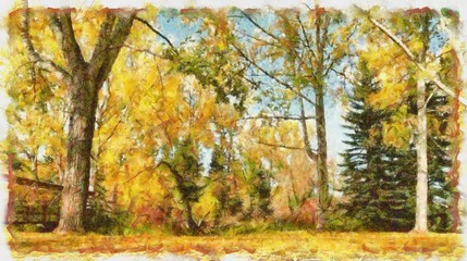 Oil painting. Art print for wall decor. Acrylic artwork. Big size poster. Watercolor drawing. Modern style fine art. Beautiful autumn landscape. Trees with yelow leaves.