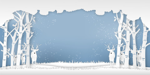 Deers in forest in the winter season with trees and snow  as Paper art and digital craft style concept. vector illustration Fotoväggar