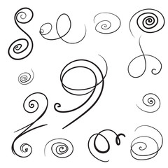 Set of Vector swirls. Decorative hand drawn curly elements.