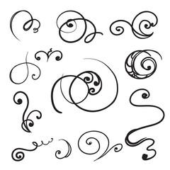 Set of Hand drawn graphic swirls, scrolls and curls. Vector illustration