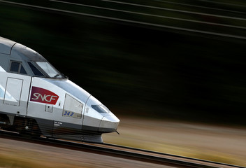 A TGV high-speed train operated by state-owned railway company SNCF speeds on the LGV Atlantique railtrack outside Orsonville