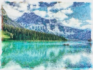 Oil painting. Art print for wall decor. Acrylic artwork. Big size poster. Watercolor drawing. Modern style fine art. Beautiful mountain landscape. Azure water of wild lake.